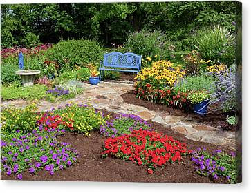 Blue Begonia Canvas Print - Elevated View Of A Flower Garden by Panoramic Images