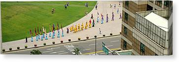 Elevated View Of A Procession Canvas Print