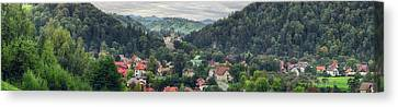 Romania Canvas Print - Elevated View Of A Town, Bran Castle by Panoramic Images