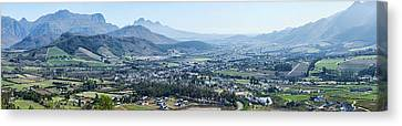 Elevated View Of A Valley With Mountain Canvas Print