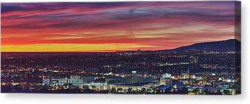 Elevated View Of City At Dusk, Los Canvas Print