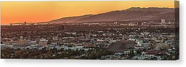 Elevated View Of City At Sunset, Los Canvas Print by Panoramic Images