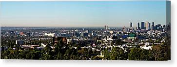 Elevated View Of City, Los Angeles Canvas Print