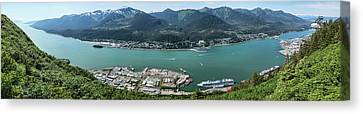 Elevated View Of Harbor With Mount Canvas Print by Panoramic Images