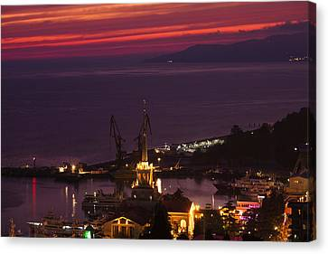 Elevated View Of Sea Terminal Canvas Print
