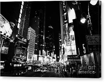 Elevated View Of Times Square In Nighttime New York City Canvas Print by Joe Fox