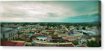 Elevated View Of Townscape Canvas Print