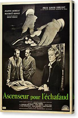 1950s Poster Art Canvas Print - Elevator To The Gallows, Aka Ascenseur by Everett