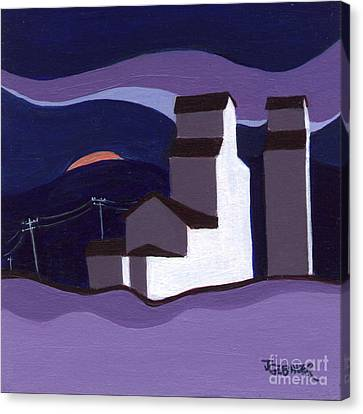 Canvas Print featuring the painting Elevators At Night by Joyce Gebauer