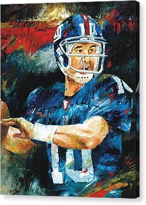 Eli Manning Canvas Print by Christiaan Bekker