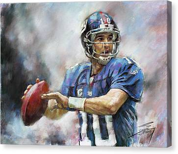 Canvas Print featuring the drawing Eli Manning Nfl Ny Giants  by Viola El