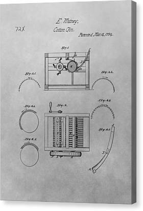 Eli Whitney Cotton Gin Patent Drawing Canvas Print by Dan Sproul