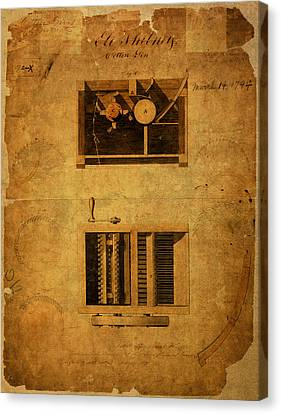 Eli Whitney Cotton Gin Patent Vintage On Worn Canvas Canvas Print by Design Turnpike