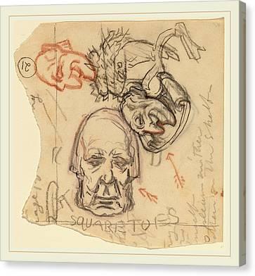 Elihu Vedder, Self-portrait Caricatures Canvas Print