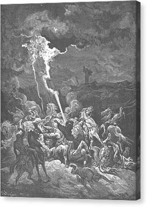 Elijah Destroys The Messengers Of Ahaziah Canvas Print by Gustave Dore