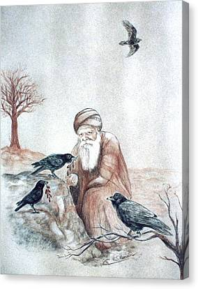 Elijah Fed By Ravens Canvas Print by Cati Simon