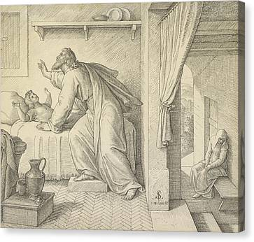 Reviving Canvas Print - Elijah Revives The Son Of The Widow Of Zarephath Julius by Litz Collection