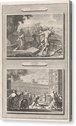 Reinhard Canvas Print - Elishas Bones Make A Deceased Man Come To Life by Jan Luyken And Andreas Reinhard (i) And Pieter Mortier