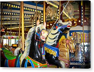 Elizabeth And Friends- Carousel Ponies Canvas Print by Colleen Kammerer