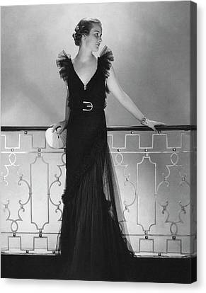 Elizabeth Harben Wearing A Lelong Dress Canvas Print