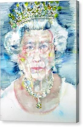 Diamond Head Canvas Print - Elizabeth II - Watercolor Portrait by Fabrizio Cassetta
