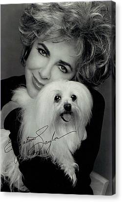 Elizabeth Taylor And Friend Canvas Print by Studio Photo