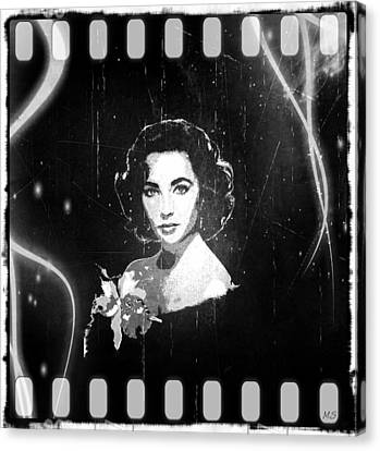 Elizabeth Taylor - Black And White Film Canvas Print by Absinthe Art By Michelle LeAnn Scott