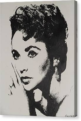 Canvas Print featuring the painting Elizabeth Taylor  by Cherise Foster