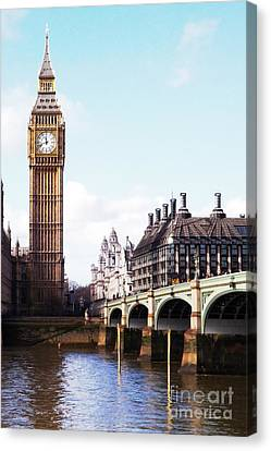 Elizabeth Tower On The Thames Canvas Print by Jessica Panagopoulos