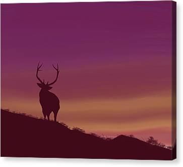 Canvas Print featuring the digital art Elk At Dusk by Terry Frederick