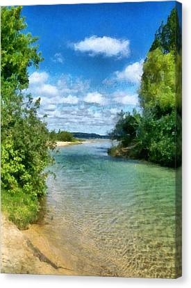 Elk River- Elk Rapids Michigan Canvas Print by Michelle Calkins
