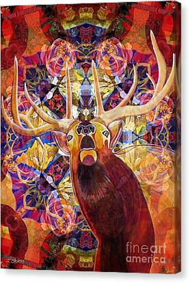 Elk Spirits In The Garden Canvas Print