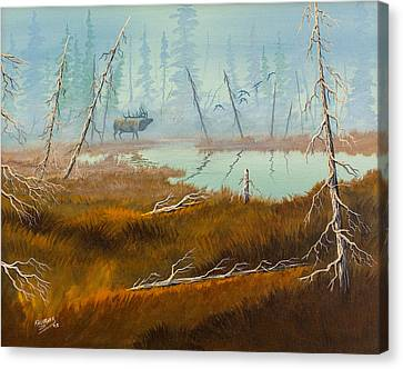 Canvas Print featuring the painting Elk Swamp by Richard Faulkner