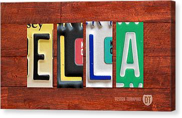Ella License Plate Name Sign Fun Kid Room Decor. Canvas Print by Design Turnpike