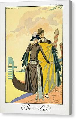 Chivalrous Canvas Print - Elle Et Lui by Georges Barbier