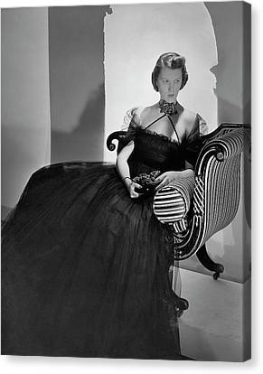 Tulle Canvas Print - Ellen Astor Wearing A Tulle Dress by Horst P. Horst