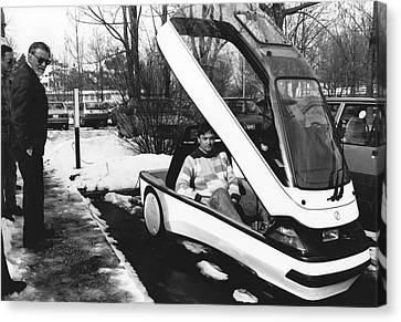 Two Wheeler Canvas Print - Ellert Electric Car At Ibm by Ibm Research