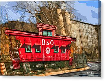 Ellicott City Train And Factory Canvas Print by Stephen Younts