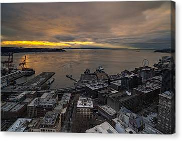 Elliott Bay Seattle Evening Canvas Print by Mike Reid