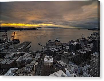 Elliott Bay Seattle Evening Canvas Print