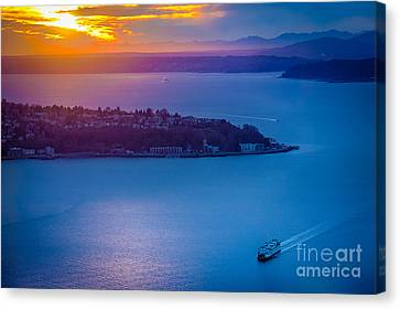 Pacific Northwest Ferry Canvas Print - Elliott Bay Sunset by Inge Johnsson