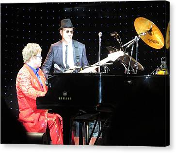 Elton Plays The Blues In Macon Ga Canvas Print by Aaron Martens