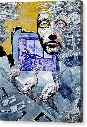 Canvas Print featuring the mixed media Elusive Gray Dream by Hartmut Jager
