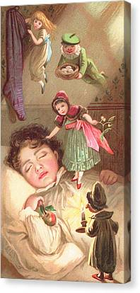 Elves Delivering Christmas Gifts Canvas Print by English School