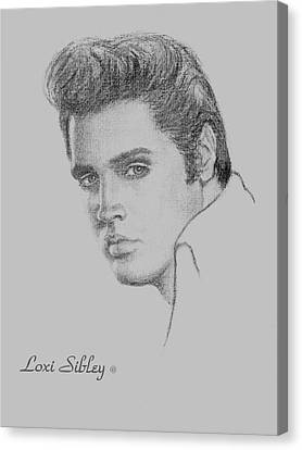 Elvis In Charcoal Canvas Print by Loxi Sibley
