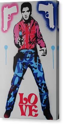 Elvis Loves Pop Canvas Print by Leon Keay