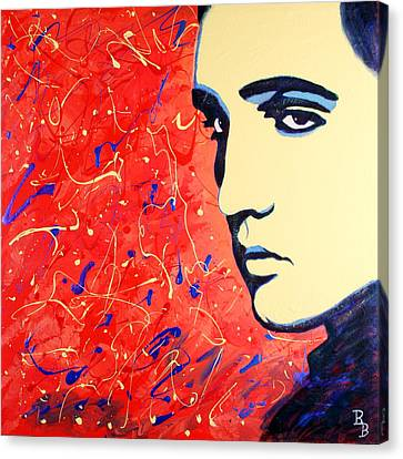 Elvis Presley - Red Blue Drip Canvas Print by Bob Baker