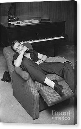 Elvis Presley At Home By His Piano 1956 Canvas Print by The Harrington Collection