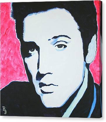 Canvas Print featuring the painting Elvis Presley - Crimson Pop Art by Bob Baker