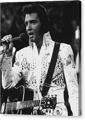 Elvis Presley Singing Canvas Print by Retro Images Archive